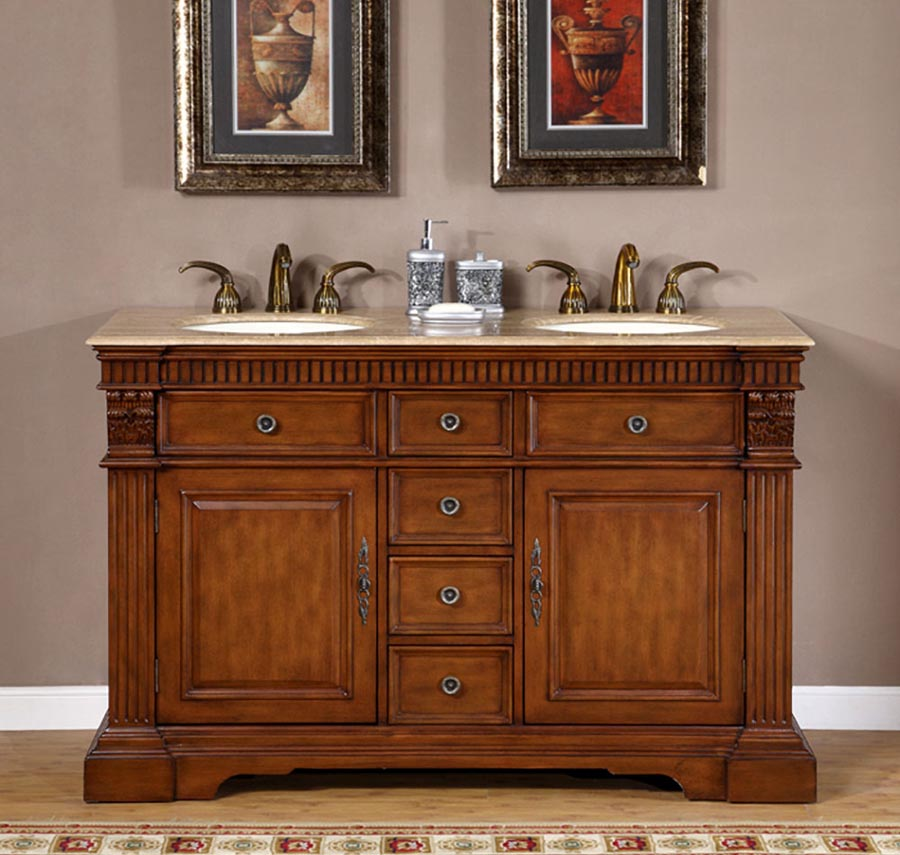 "55"" Double Sink Cabinet - Travertine Top, Undermount Ivory Ceramic Sinks (3-hole)"