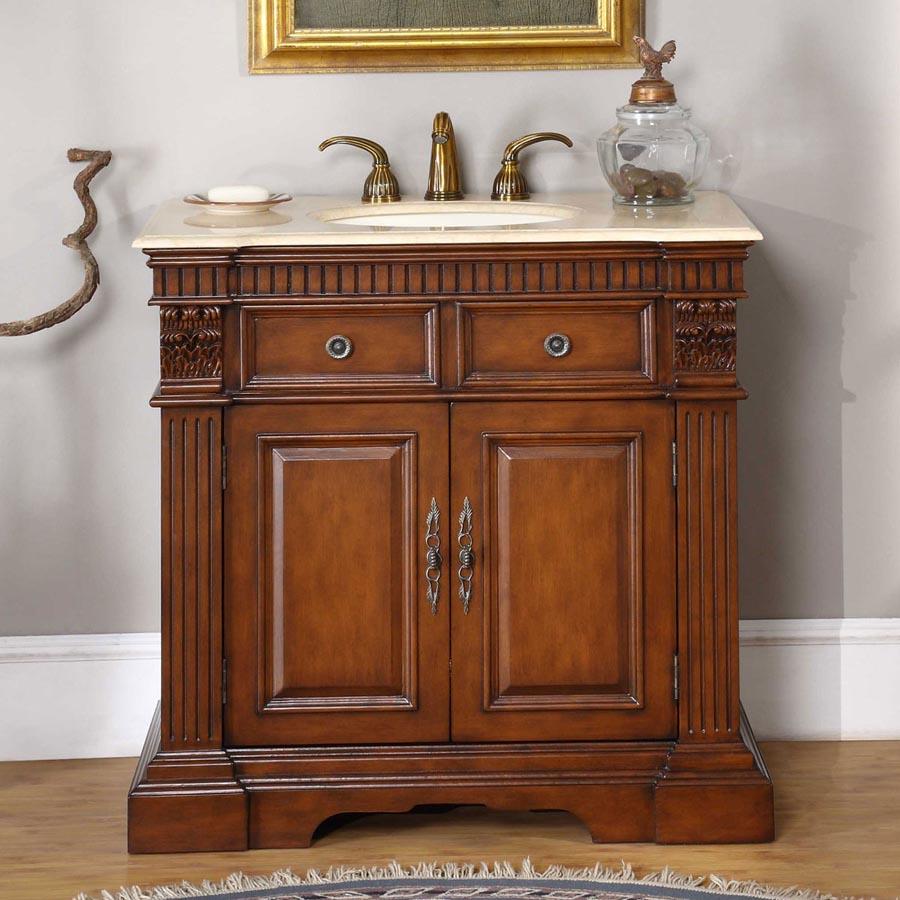 "36"" Single Sink Cabinet - Crema Marfil Marble Top, Undermount Ivory Ceramic Sinks (3-hole)"