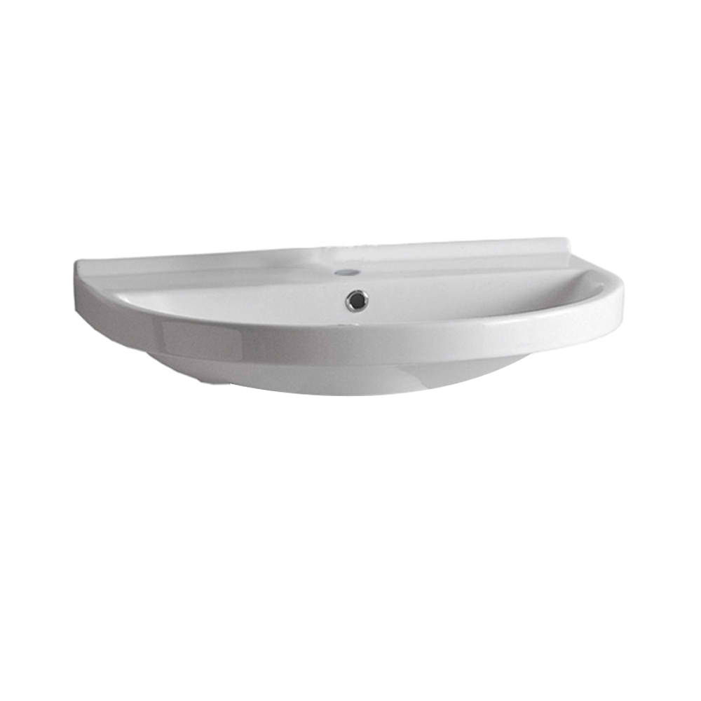 Isabella Collection U-Shaped Wall Mount Basin Chrome Overflow and Rear Center Drain with Single Hole or Widespread Faucet Drilling