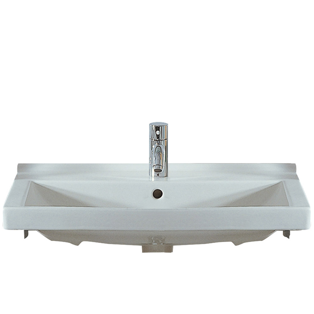 Isabella Collection Rectangular Wall Mount Bath Basin with Widespread or Single Hole Faucet Drilling, Chrome Overflow and Rear Center Drain