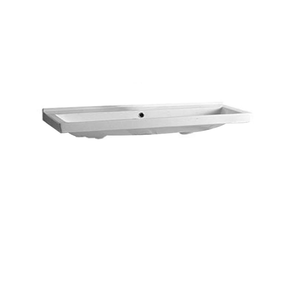 Isabella Collection Large Rectangular Basin with Chrome Overflow - Faucet Drilling Option