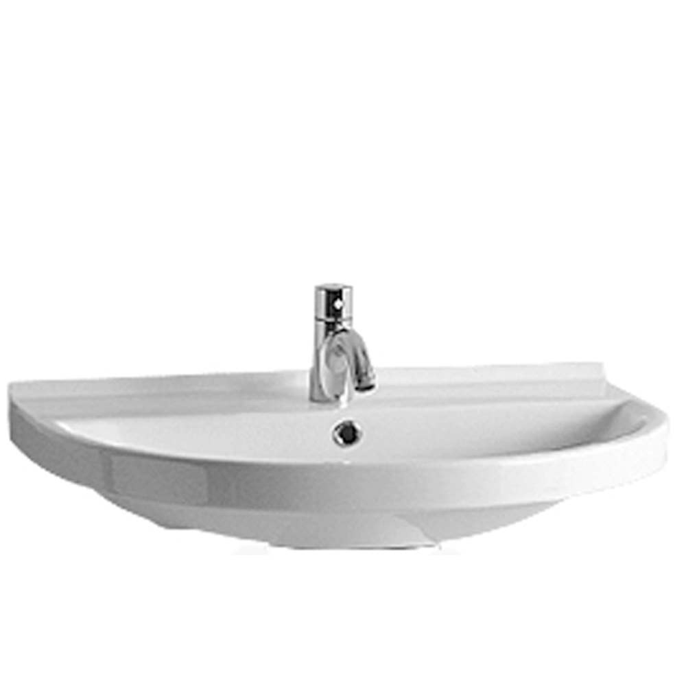 Isabella Collection Large U-Shaped Wall Mount Bathroom Basin Chrome Overflow and Rear Center Drain - Faucet Drilling Option