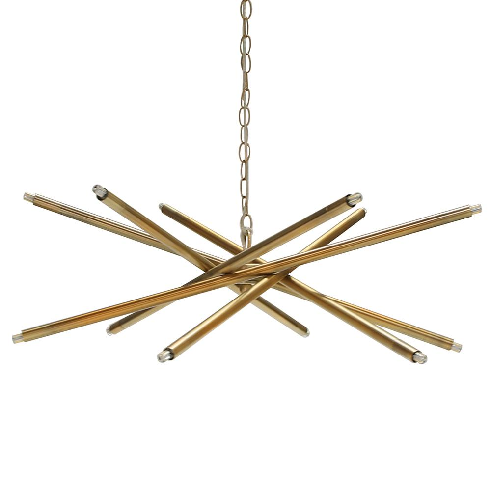 Modern Twelve Light Chandelier in Antique Brass or Nickel Options