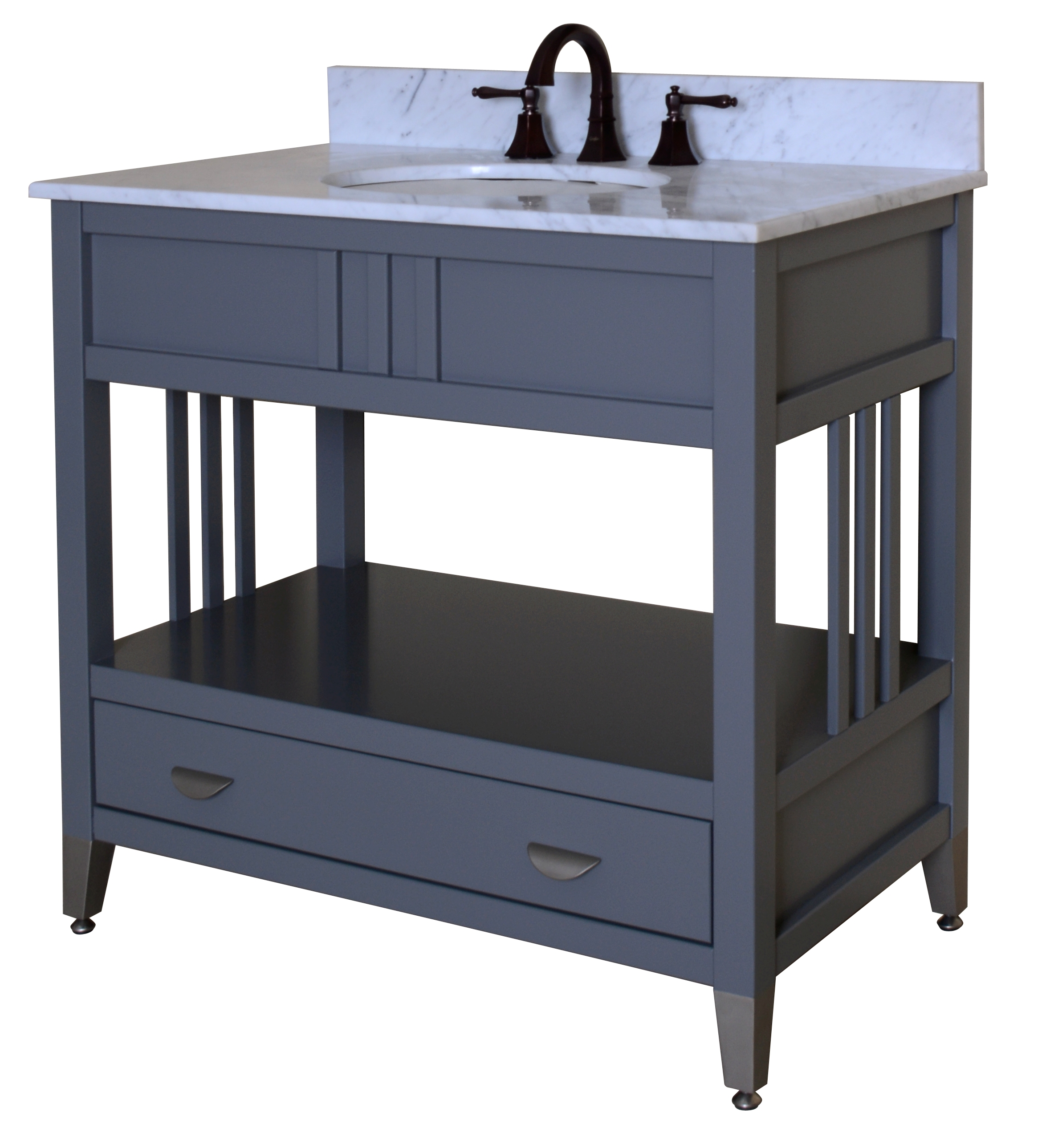 "Metro Grey 36"" Bathroom Vanity Base, Designer Grey Finish"