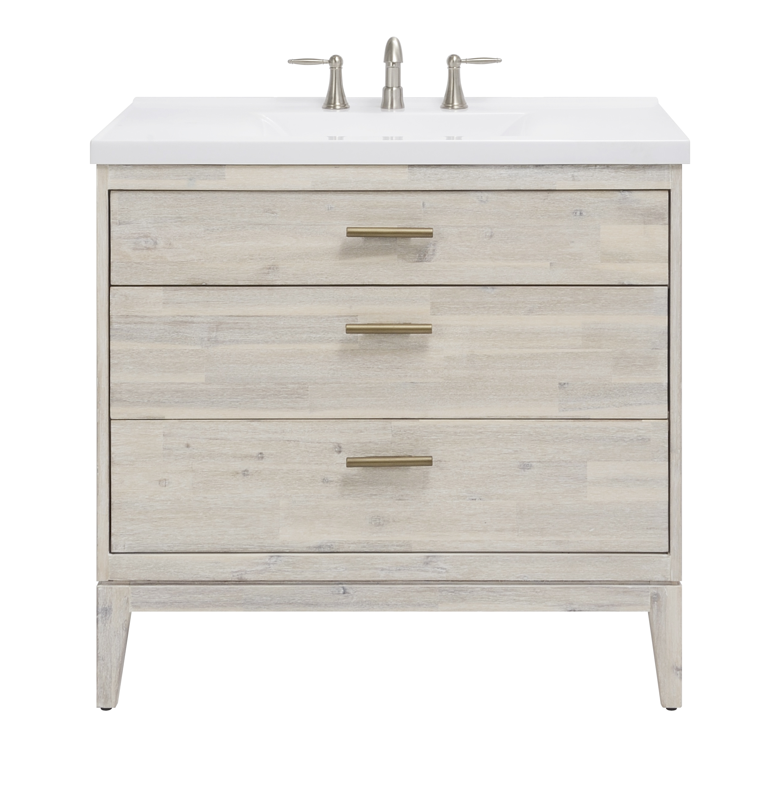 "36"" Bathroom Vanity Base, Chalky White Finish"