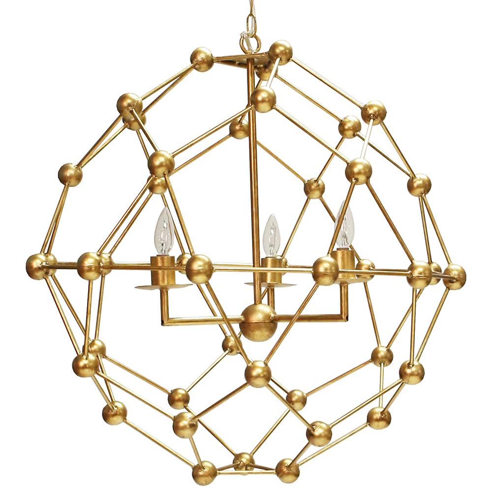 Large Molecule Chandelier in Gold Leaf or Silver Leaf Option