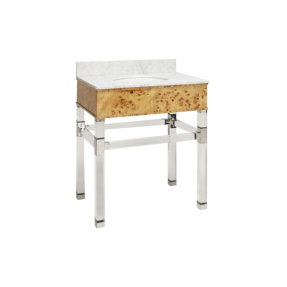"30.5"" Isaac Edwards Collection Burl Wood Acrylic & Nickel Vanity with White Marble Top, Backsplash Option"