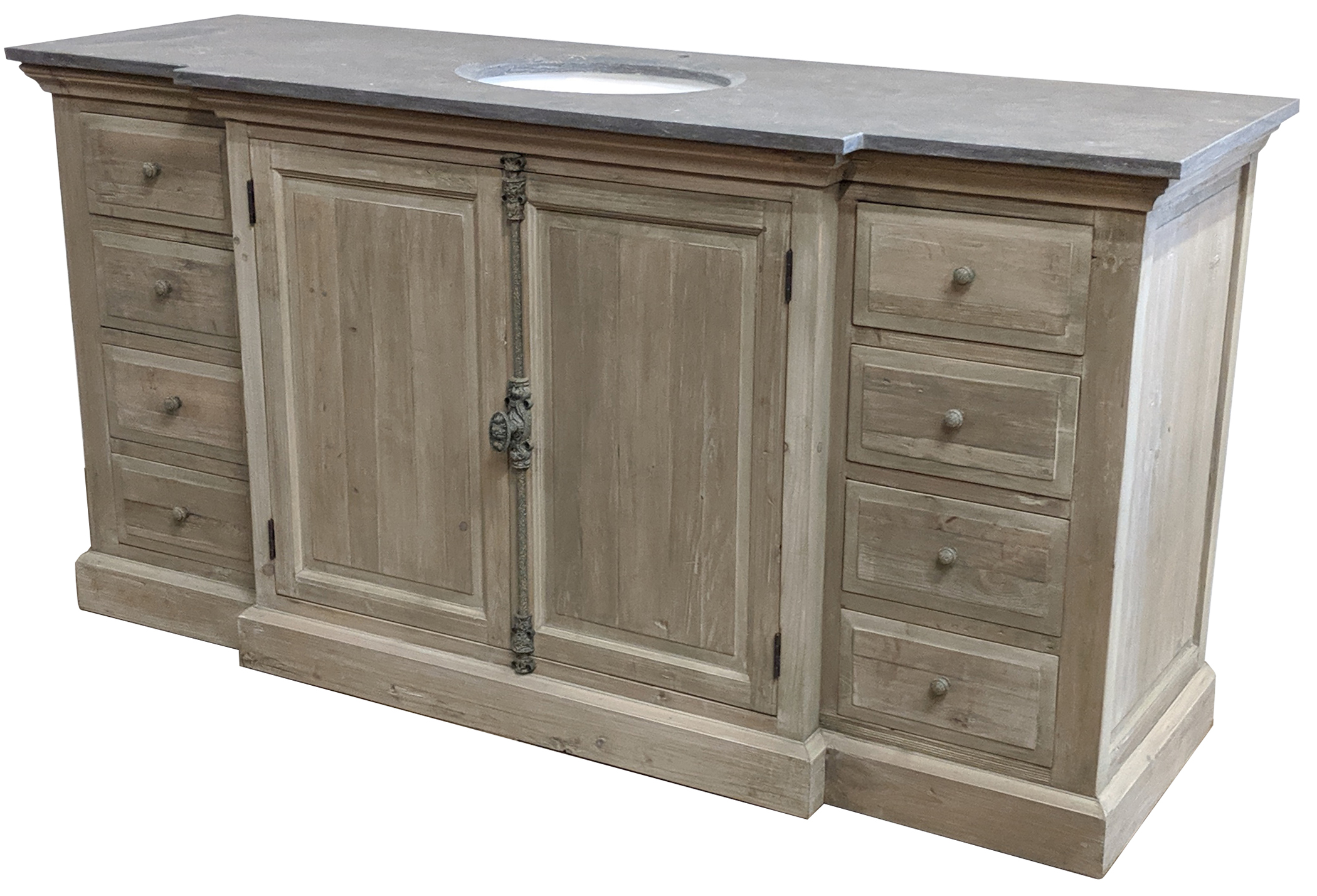 "71"" Reclaimed Pine Large Single Vanity with Blue Stone Top Wash Finish"