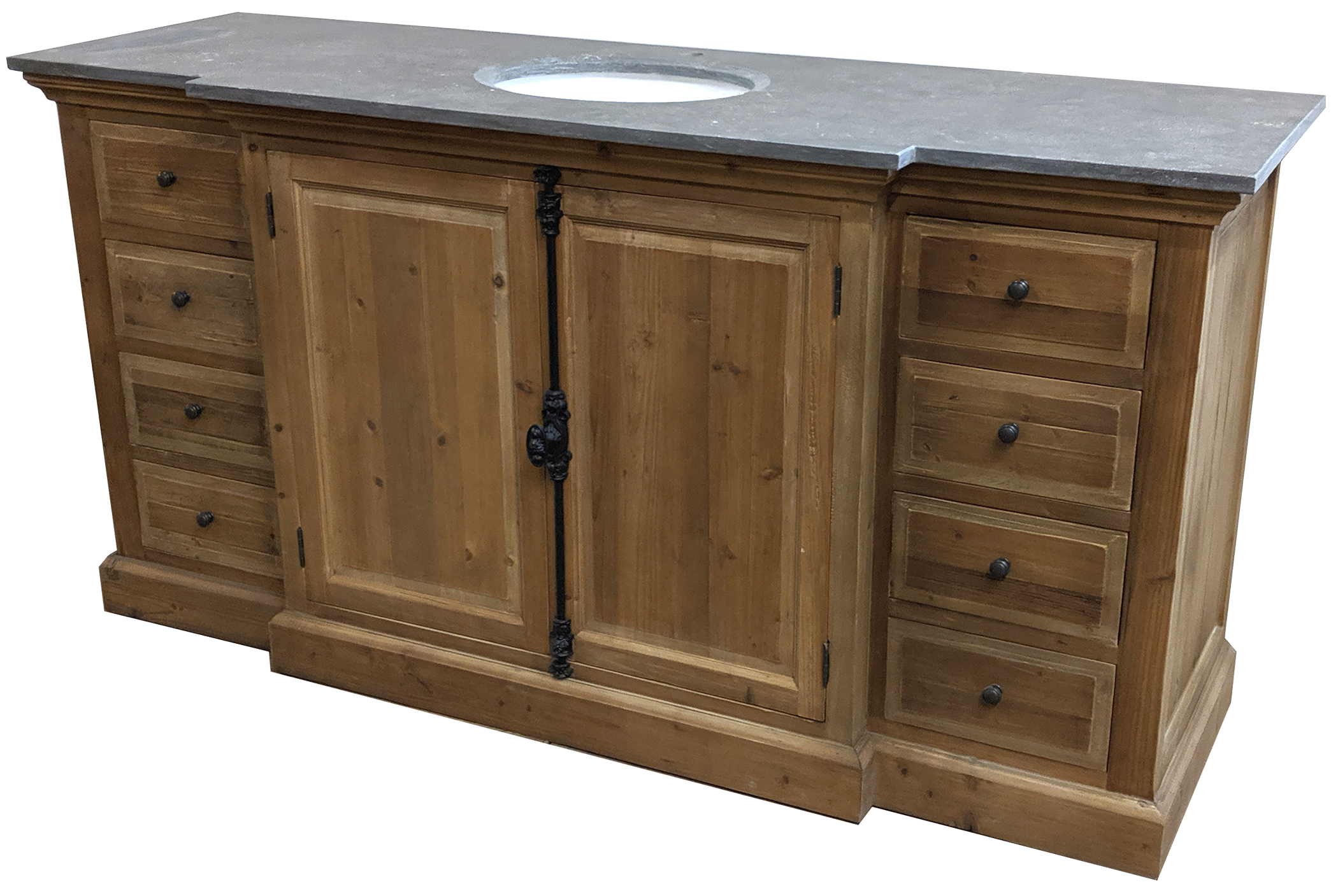 "71"" Reclaimed Pine Large Single Vanity with Blue Stone Top Natural"