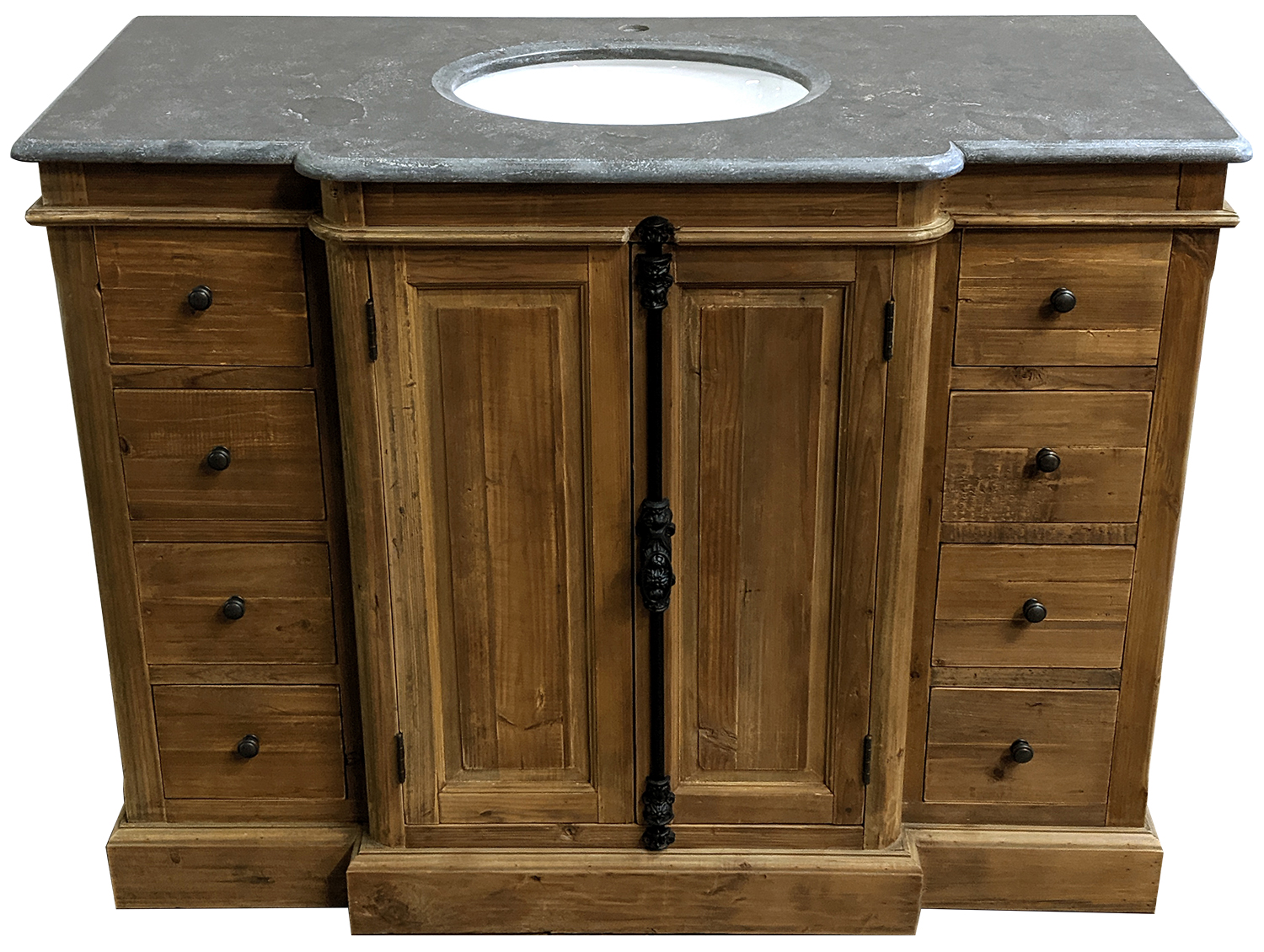 "48"" Reclaimed Pine Single Vanity with Blue Stone Top Natural"