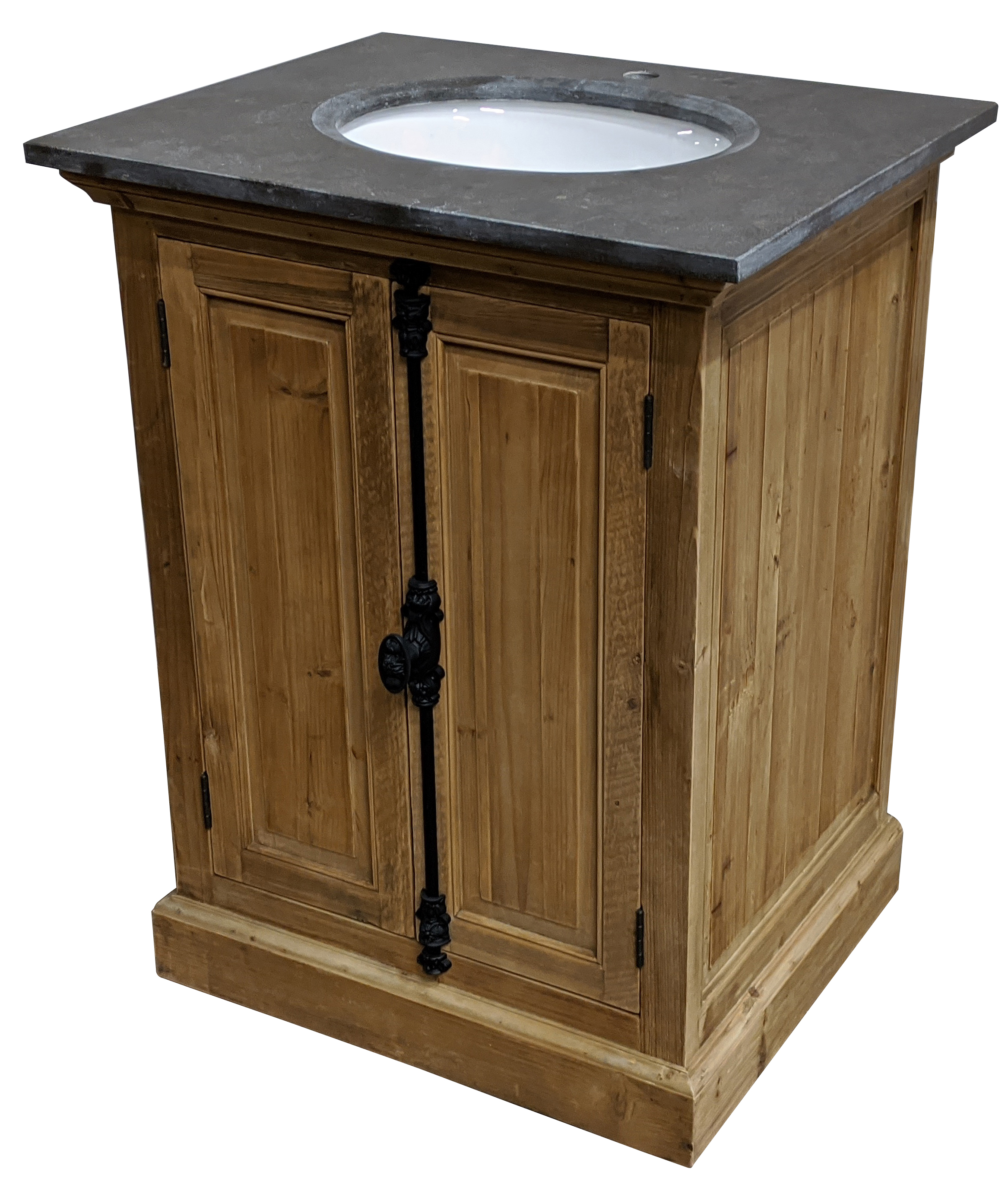 "28"" Reclaimed Pine Single Vanity with Blue Stone Top Natural Finish"