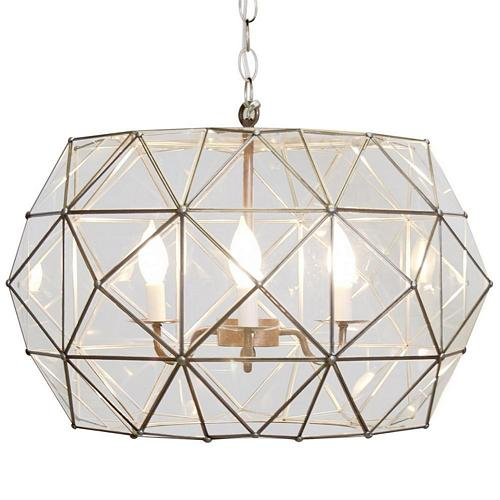 Tin and Clear Glass Chandelier