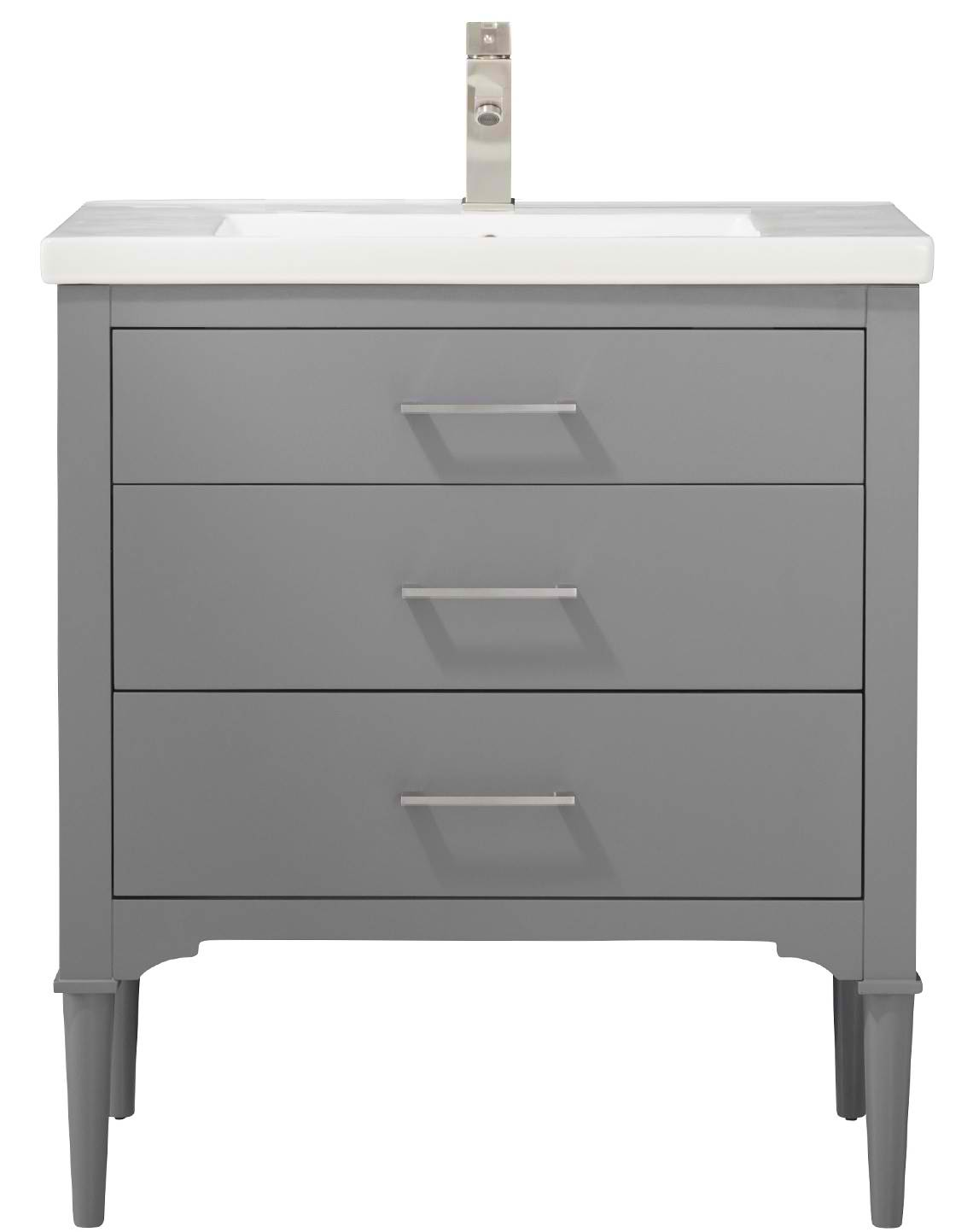 "30"" Transitional Single Sink Vanity with Porcelain Integrated Counterop and Sink in Gray Finish"