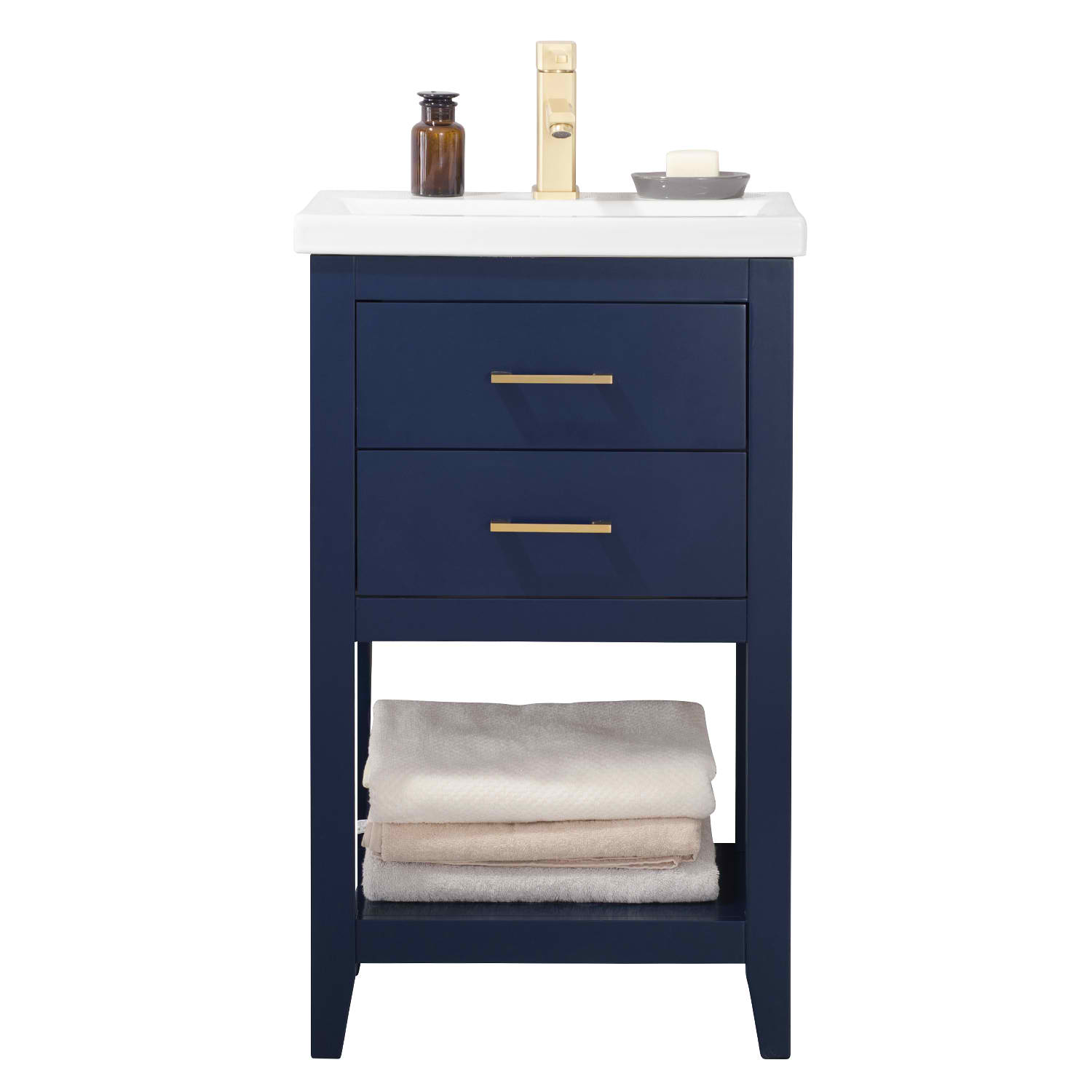 "20"" Modern Single Sink Vanity with Porcelain Integrated Counterop and Sink in Blue Finish"