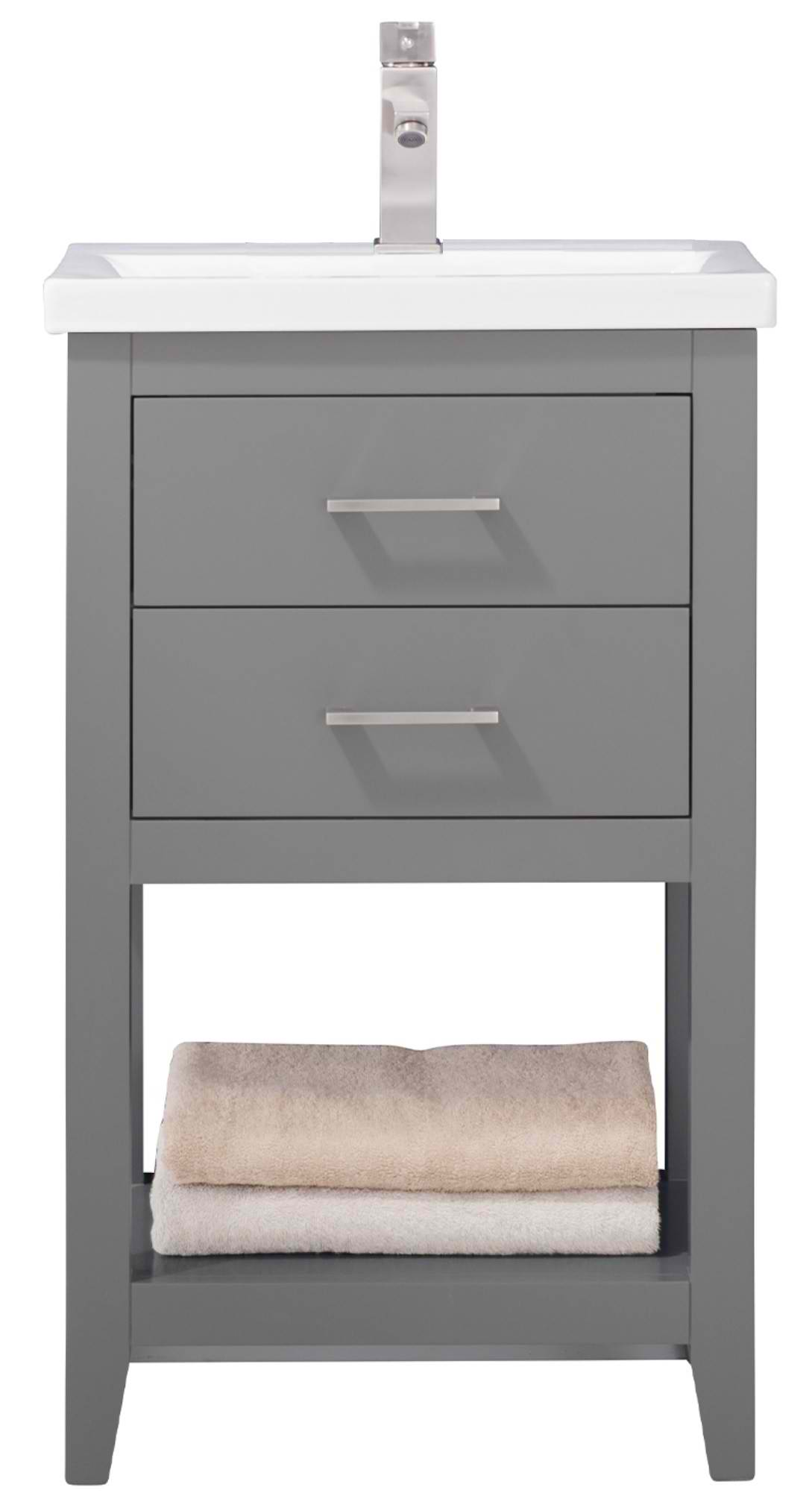 "20"" Modern Single Sink Vanity with Porcelain Integrated Counterop and Sink in Gray Finish"