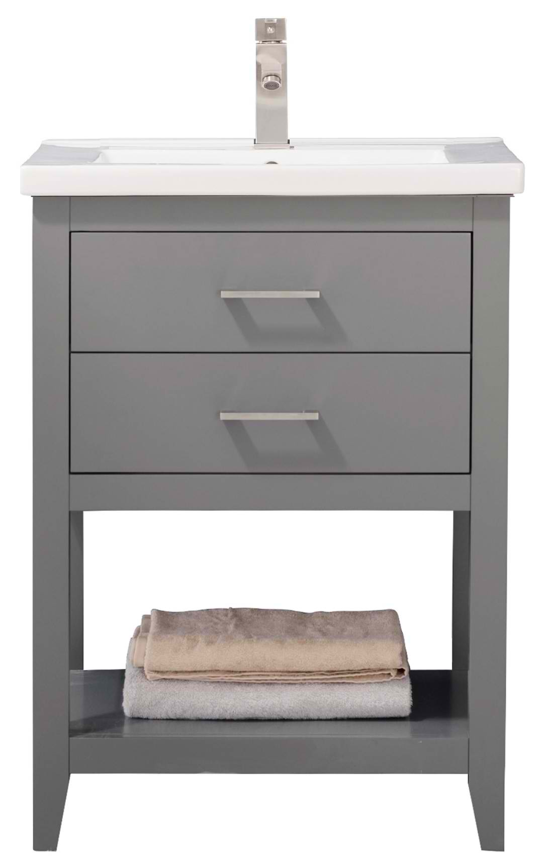 "24"" Modern Single Sink Vanity with Porcelain Integrated Counterop and Sink in Gray Finish"