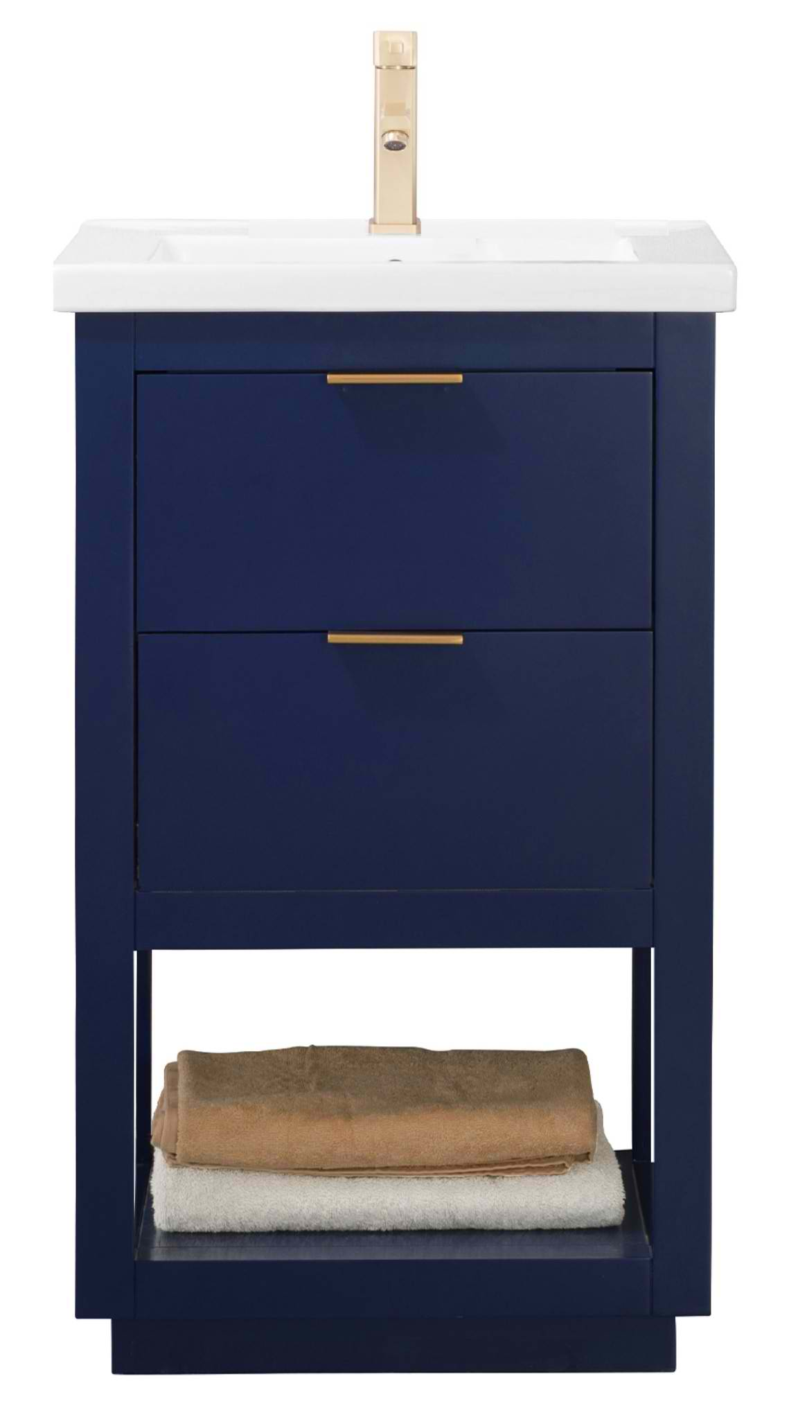 "Modern 20"" Single Sink Vanity with Porcelain Integrated Counterop and Sink in Blue Finish"