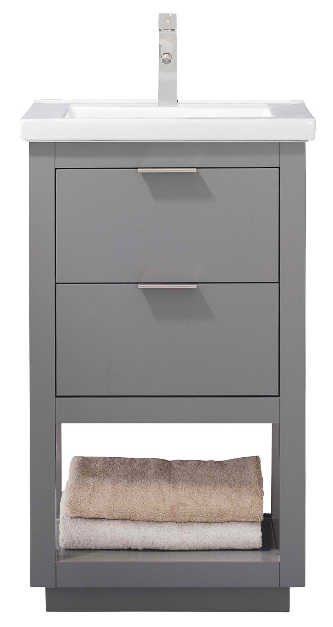 "Modern 20"" Single Sink Vanity with Porcelain Integrated Counterop and Sink in Gray Finish"
