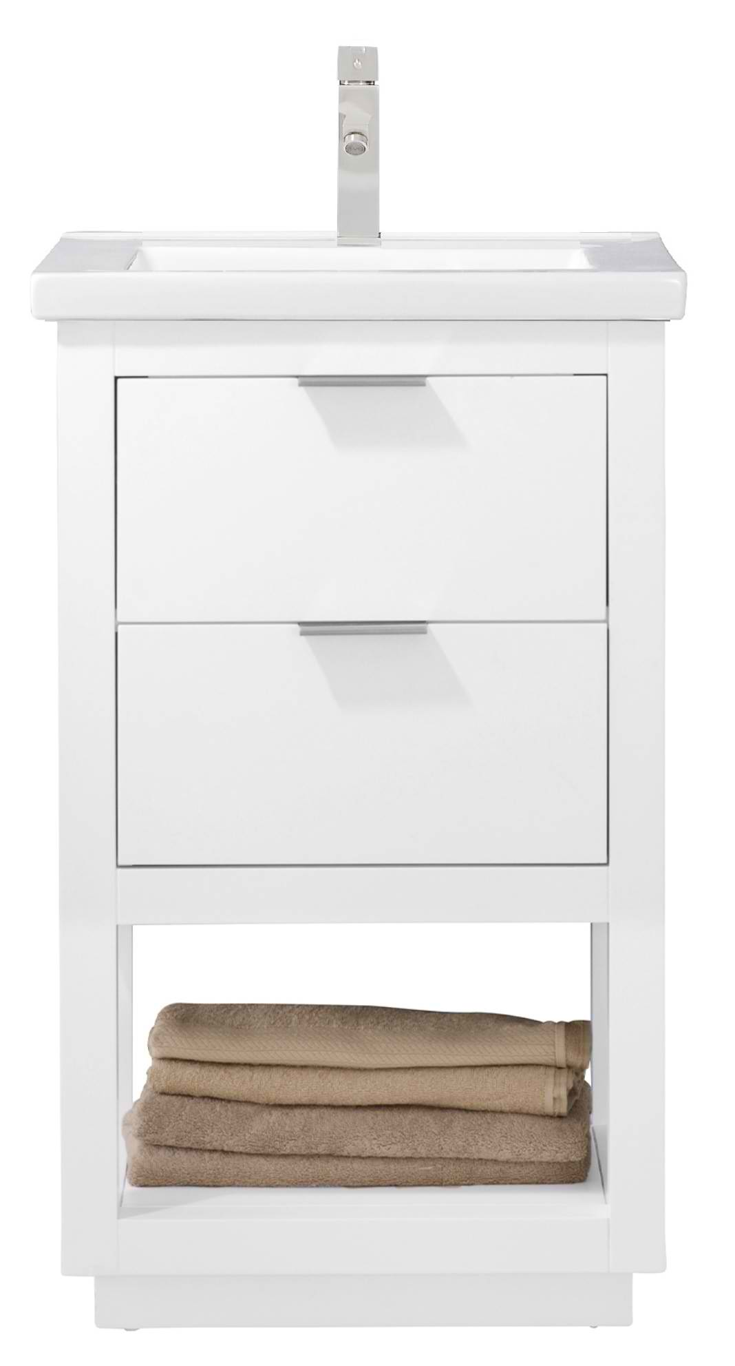 "Modern 20"" Single Sink Vanity with Porcelain Integrated Counterop and Sink in White Finish"