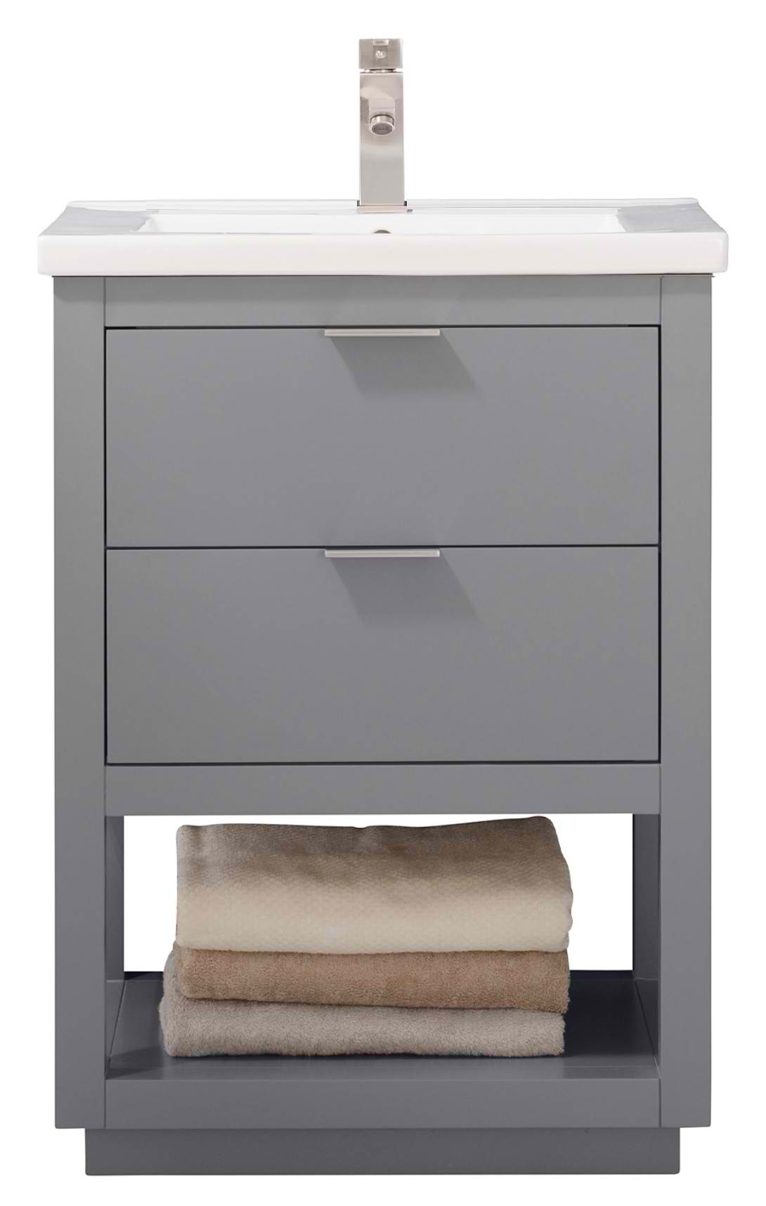 "Modern 24"" Single Sink Vanity with Porcelain Integrated Counterop and Sink in Gray Finish"