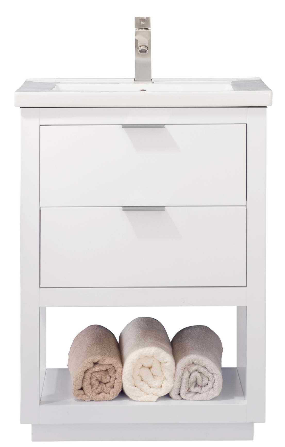 """Modern 24"""" Single Sink Vanity with Porcelain Integrated Counterop and Sink in White Finish"""