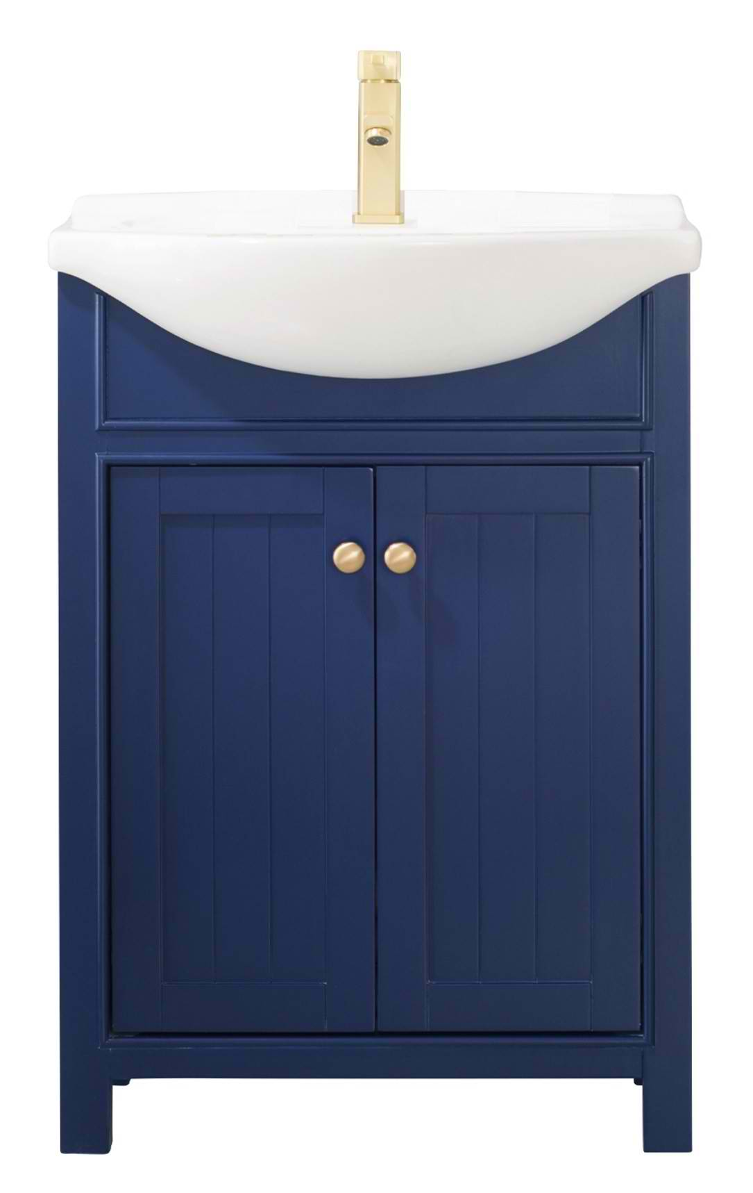 "Transitional 24"" Single Sink Vanity with Porcelain Integrated Counterop and Sink in Blue Finish"