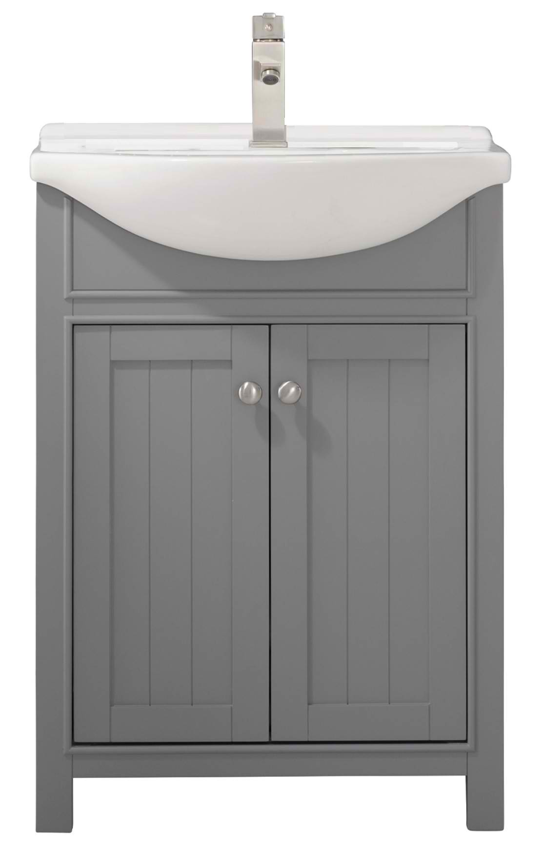 "Transitional 24"" Single Sink Vanity with Porcelain Integrated Counterop and Sink in Gray Finish"