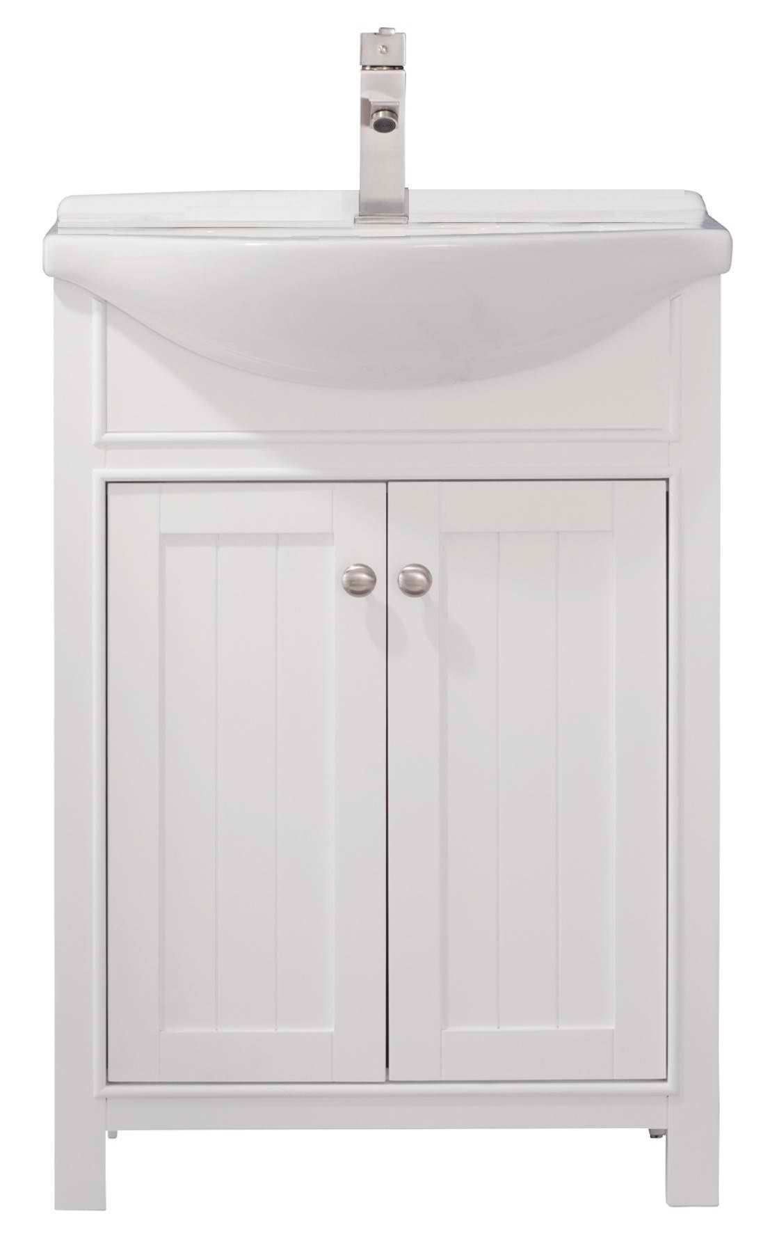 "Transitional 24"" Single Sink Vanity with Porcelain Integrated Counterop and Sink in White Finish"