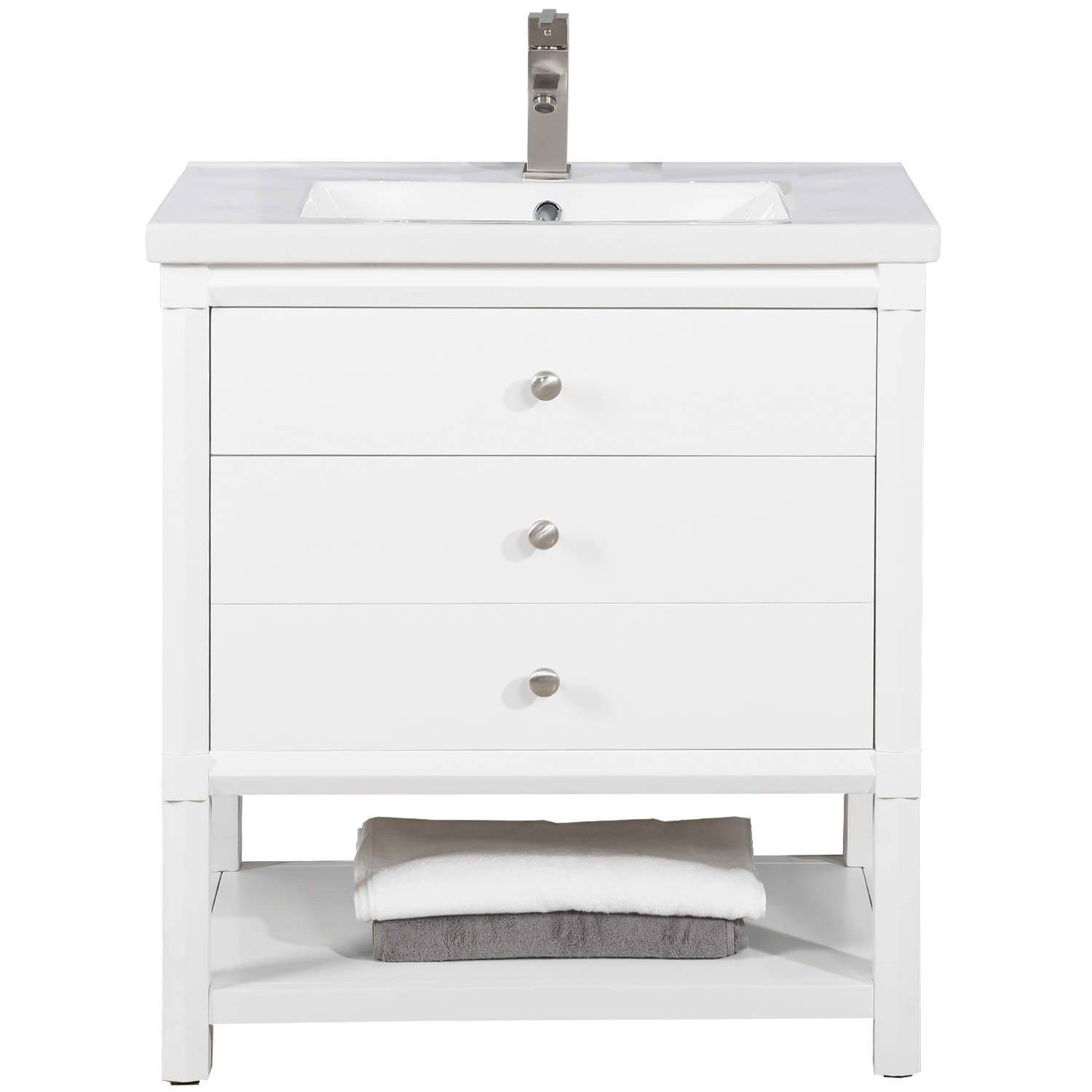 "Transitional 30"" Single Sink Vanity with Porcelain Integrated Counterop in White Finish"