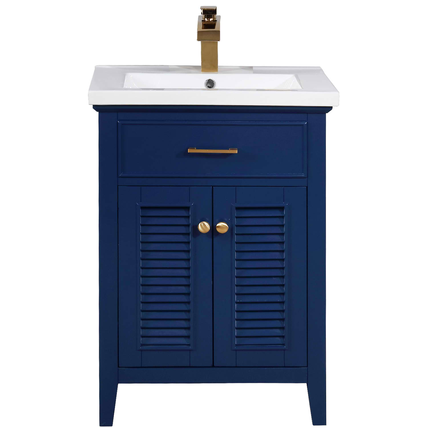 "Transitional 24"" Single Sink Bathroom Vanity with Porcelain Integrated Counterop in Blue Finish"