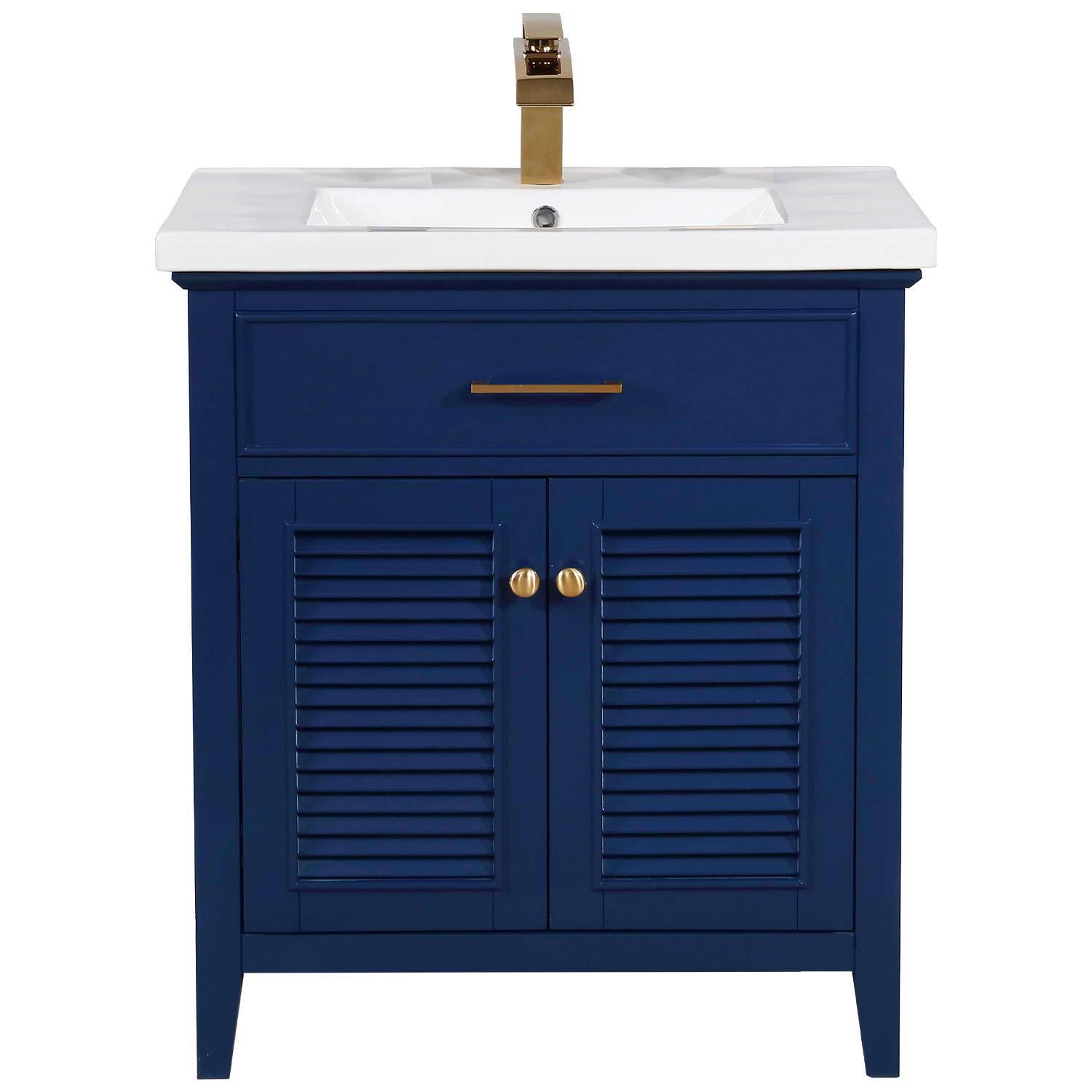 "Transitional 30"" Single Sink Bathroom Vanity with Porcelain Integrated Counterop in Blue Finish"
