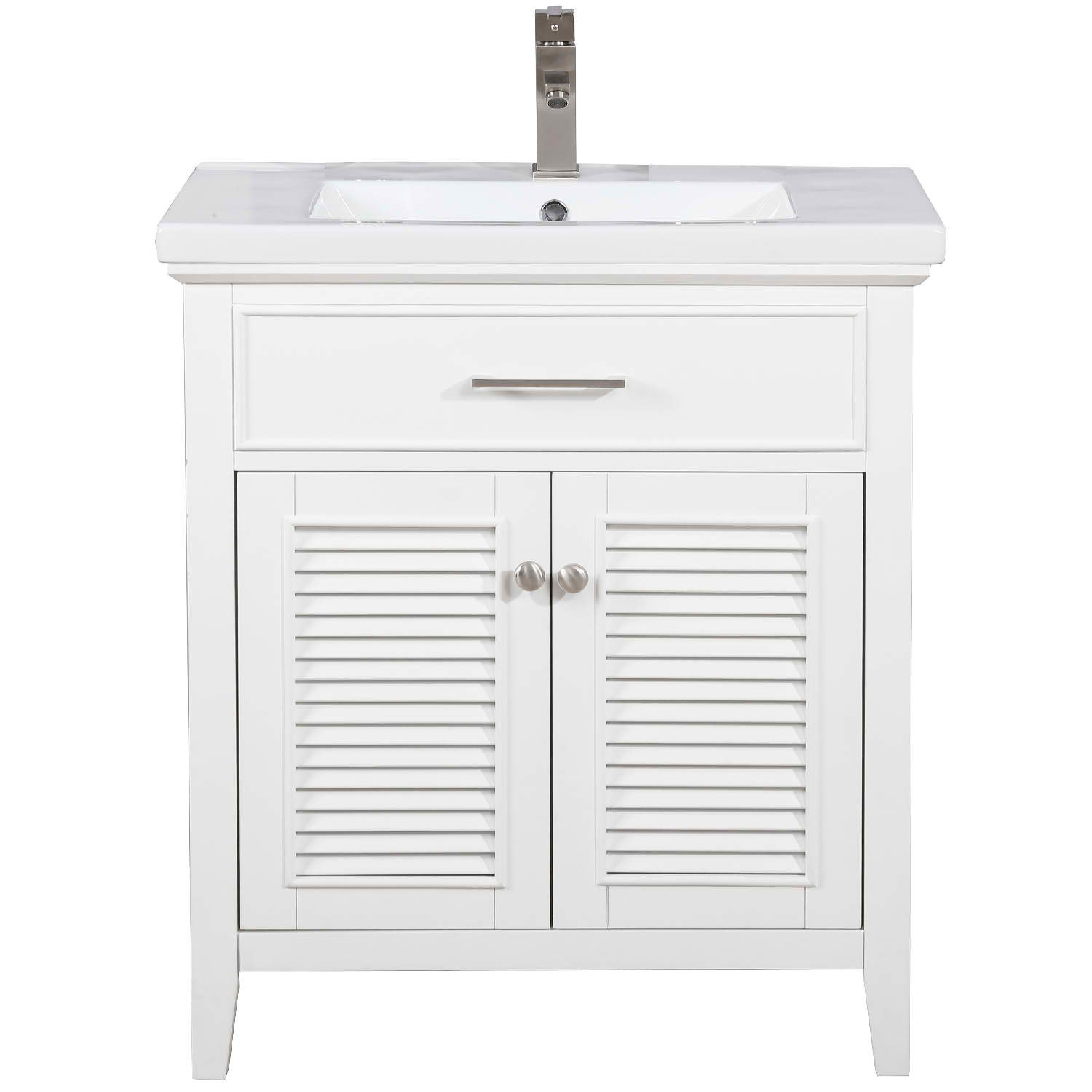 "Transitional 30"" Single Sink Bathroom Vanity with Porcelain Integrated Counterop in White Finish"
