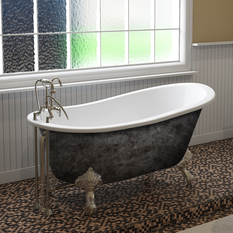"Cambridge Scorched Platinum 61"" x 30"" Cast Iron Slipper Bathtub with 7"" Deck Mount Faucet Holes and Polished Chrome Feet"