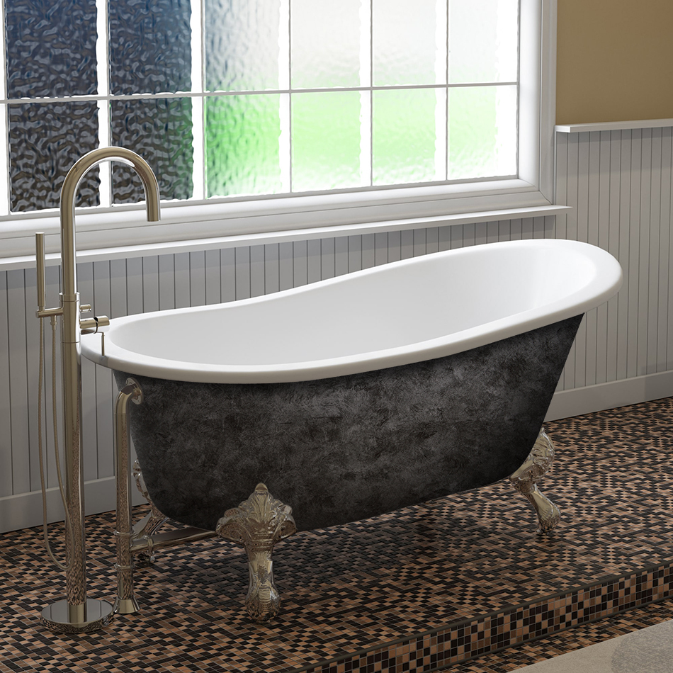 "Cambridge Scorched Platinum 61"" x 30"" Cast Iron Slipper Bathtub with No Faucet Holes and Polished Chrome Ball and Claw Feet"