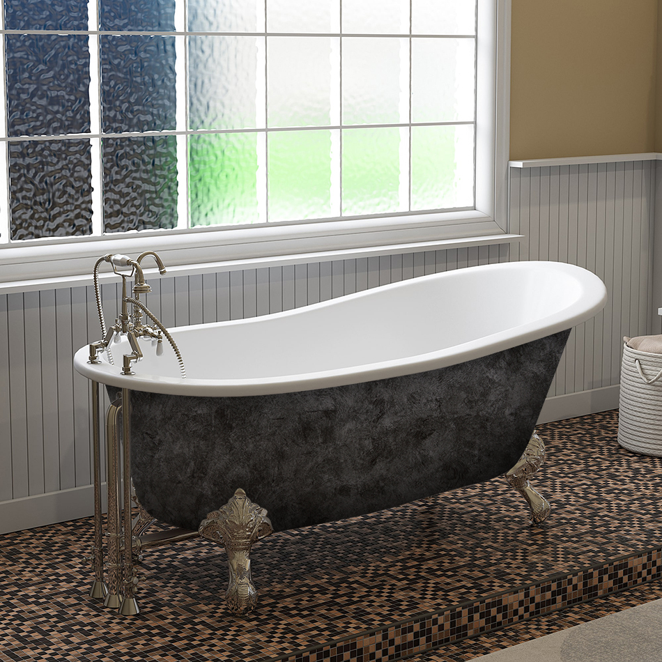"Cambridge Scorched Platinum 67"" x 30"" Cast Iron Slipper Bathtub with ""7"" Deck Mount Faucet Holes and Polished Chrome Ball and Claw Feet"