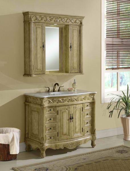 "42"" Tan with Matching Medicine Cabinet, Cream Marble Top"