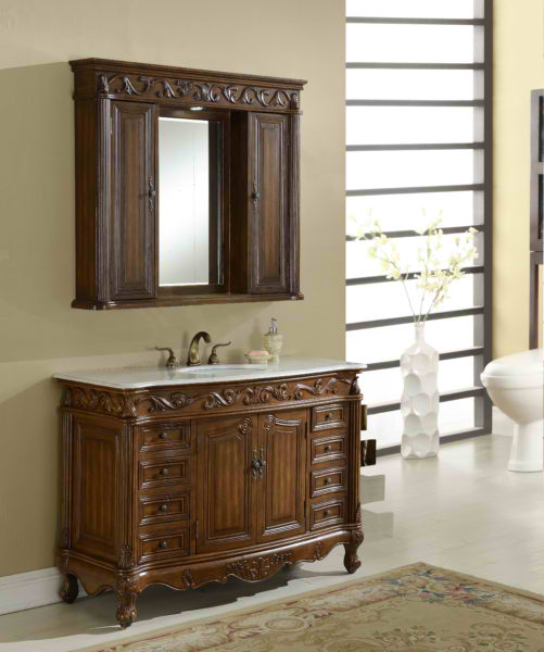 "48"" Deep Chestnut Finish Matching Medicine Cabinet, Imperial White Marble Top"