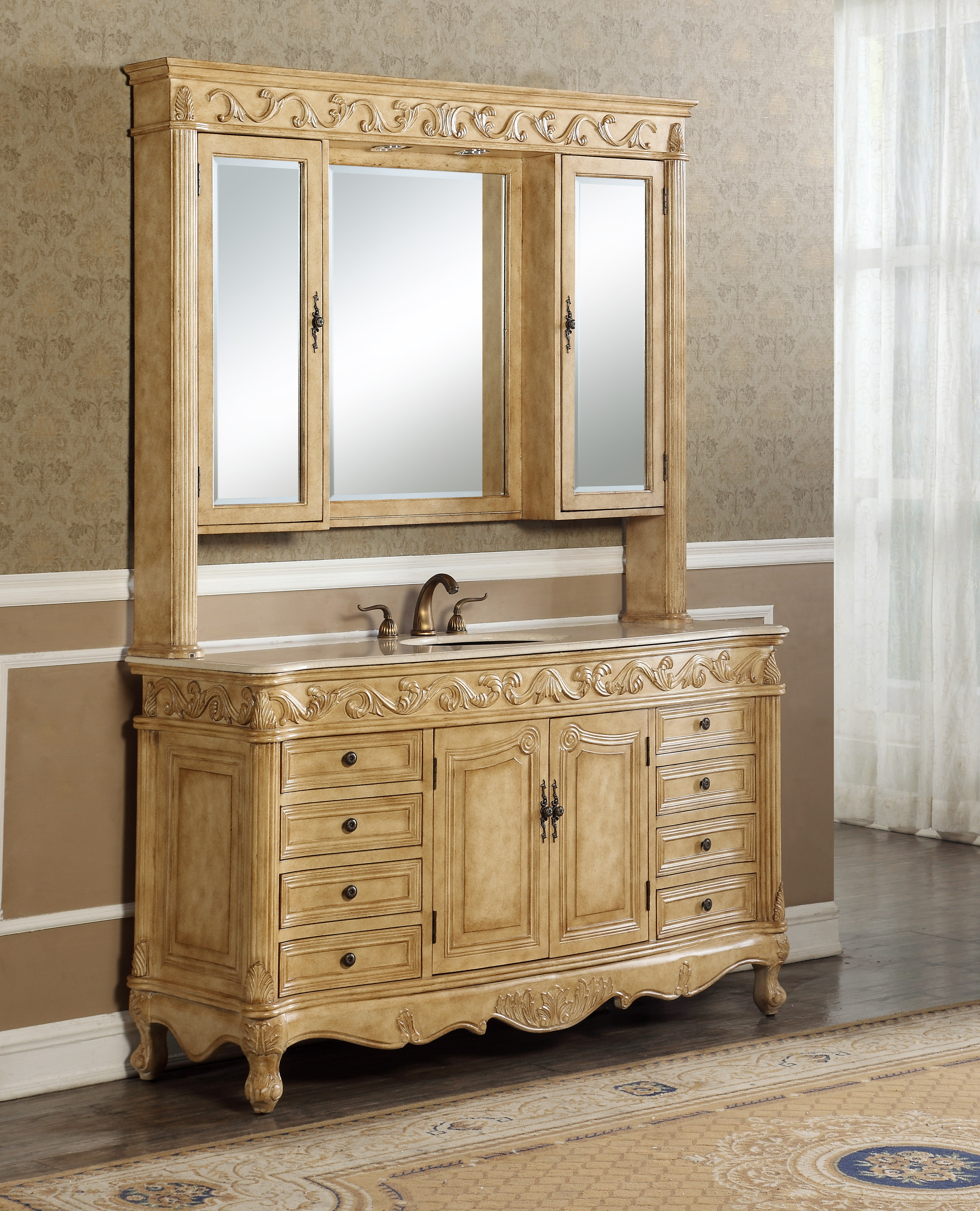 """60"""" Antique Tan with Matching Medicine Cabinet, Imperial White Marble Top"""
