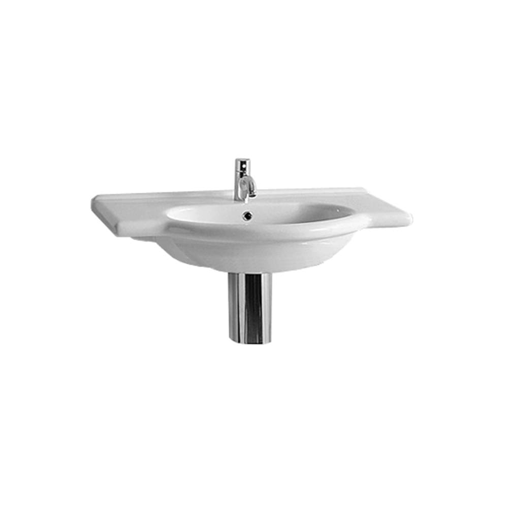 Isabella Collection Wall Mount/Semi Recessed Large Vanity Bath Basin, Integrated Oval Basin and Chrome Overflow with Faucet Drilling Option