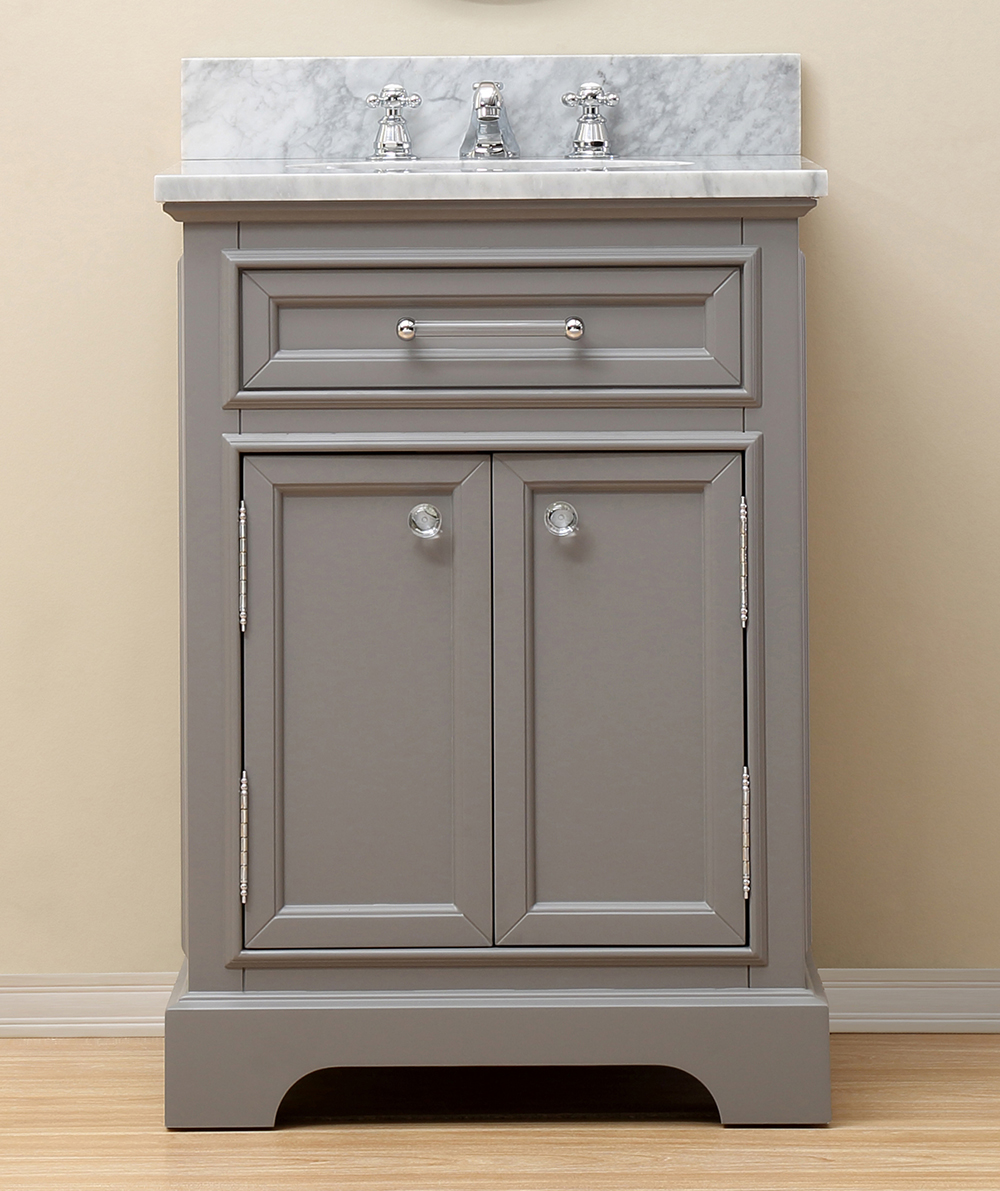 "24"" Cashmere Grey Single Sink Bathroom Vanity with White Carrara Marble Top"