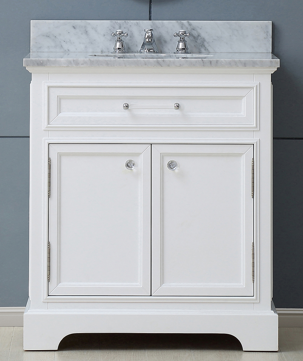 "24"" Pure White Single Sink Bathroom Vanity with White Carrara Marble Top"