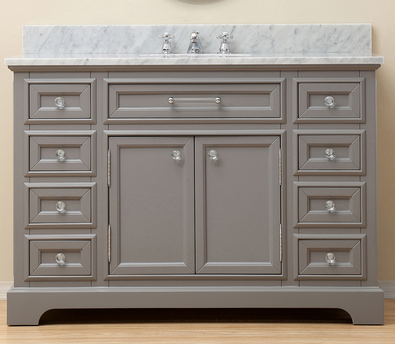 "48"" Cashmere Grey Single Sink Bathroom Vanity with Carrara White Marble Top"