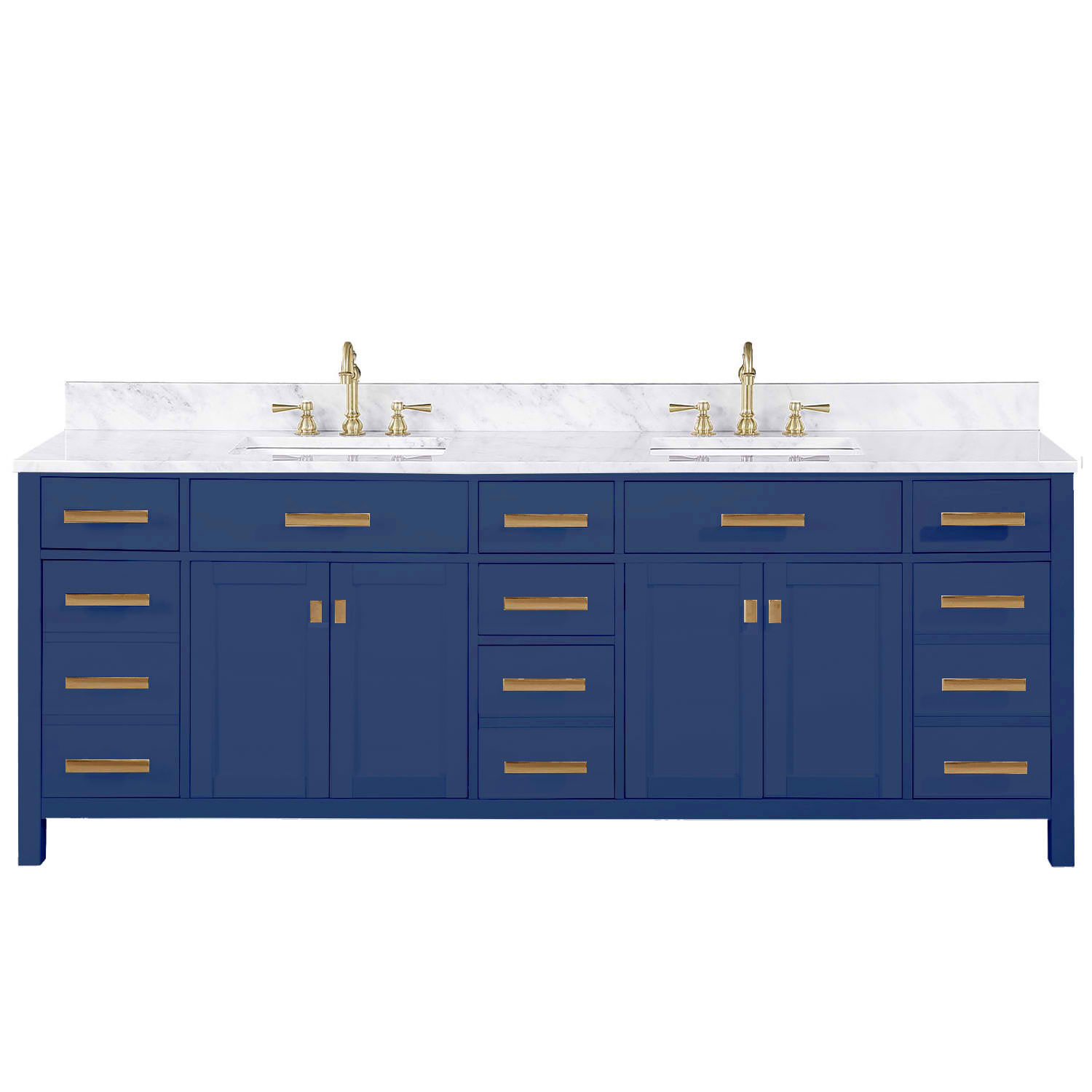 "Modern 84"" Double Sink Vanity with Carrara Marble Counterop in Blue Finish"