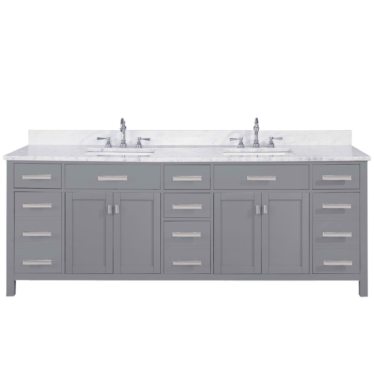 "Modern 84"" Double Sink Vanity with Carrara Marble Counterop in Gray Finish"