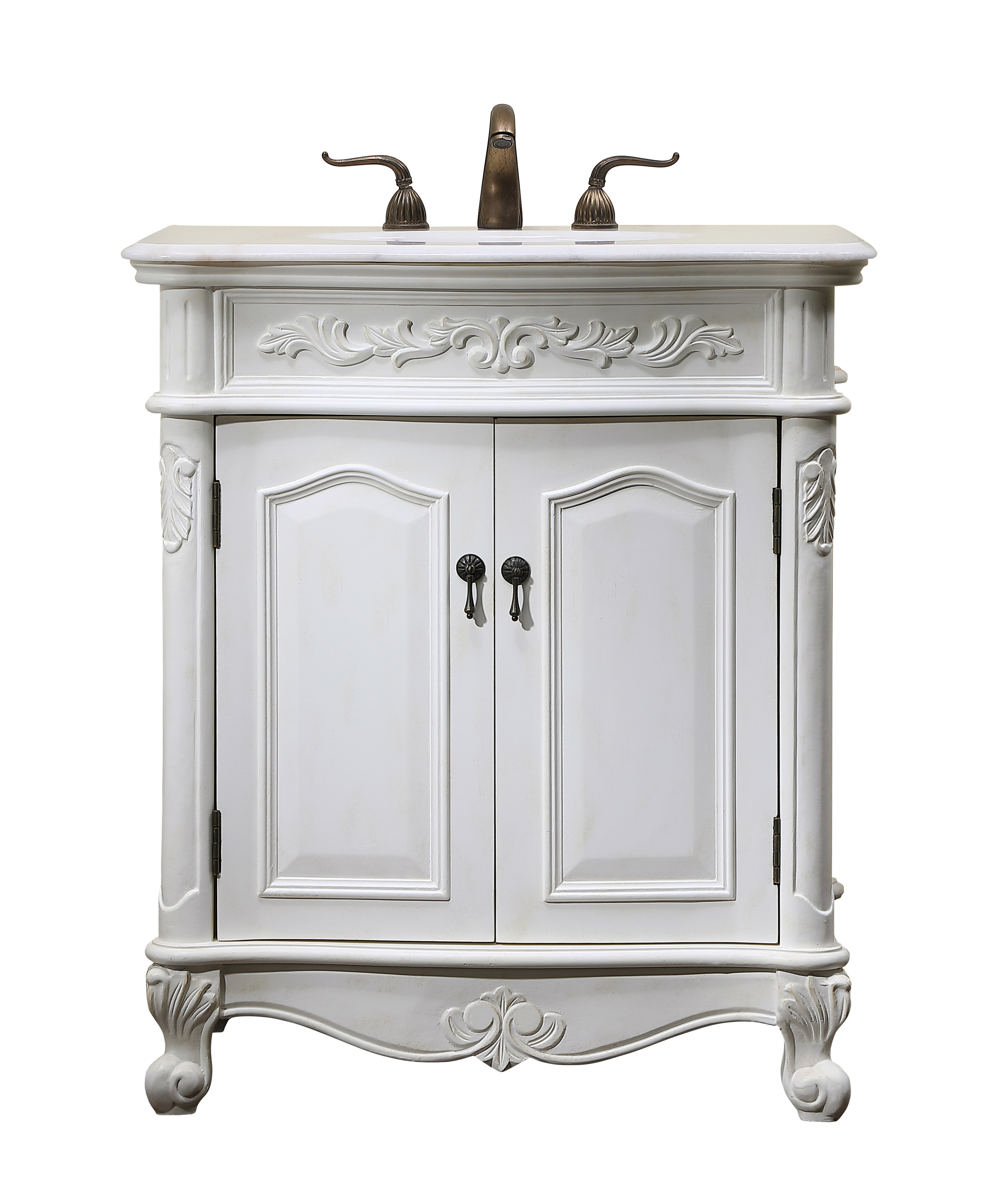 """30"""" Antique White Finish Vanity with Victorian Style Leg"""