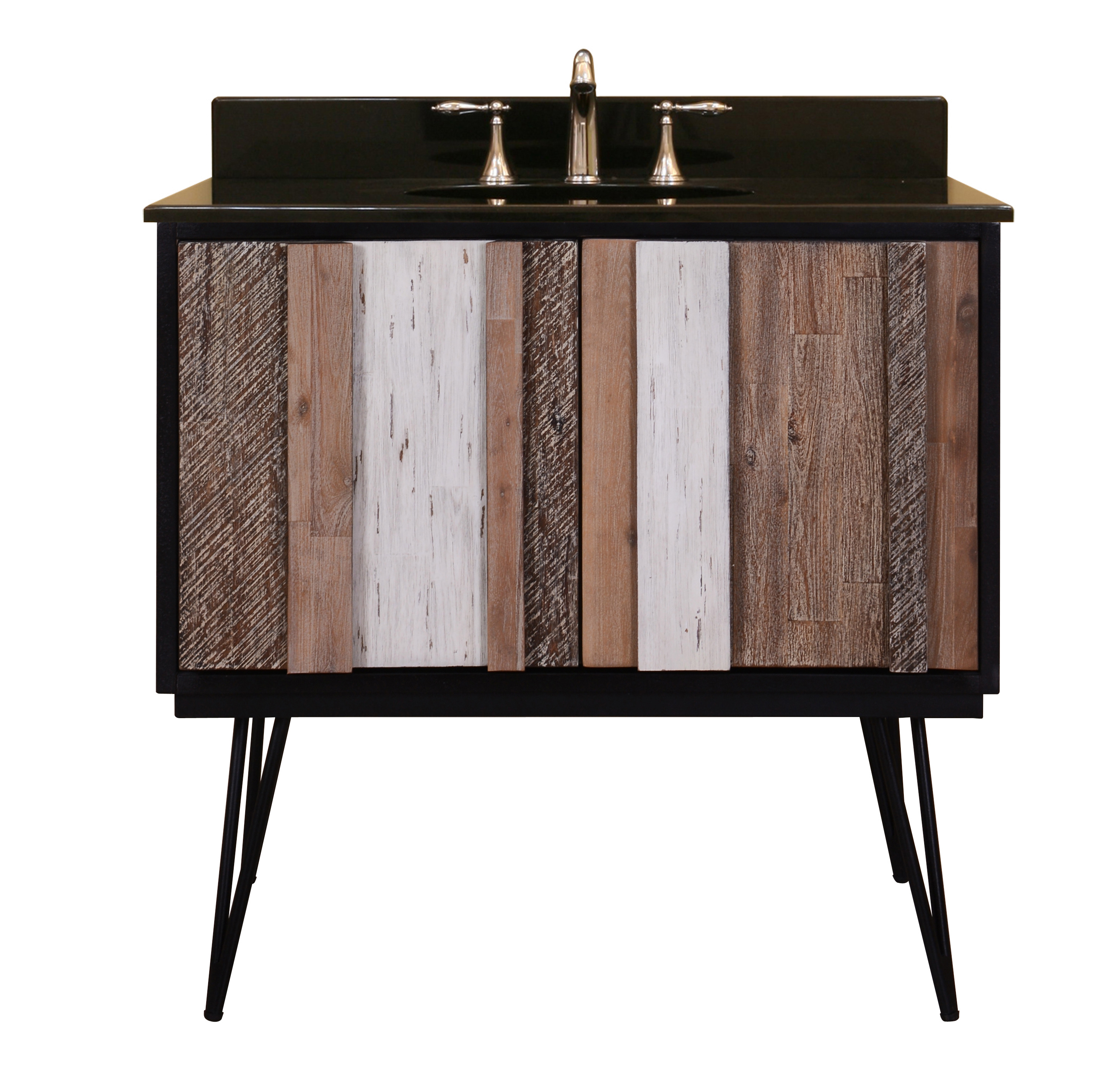 "Verticali 36"" Bathroom Vanity Base, Rustic Variegated Finish"