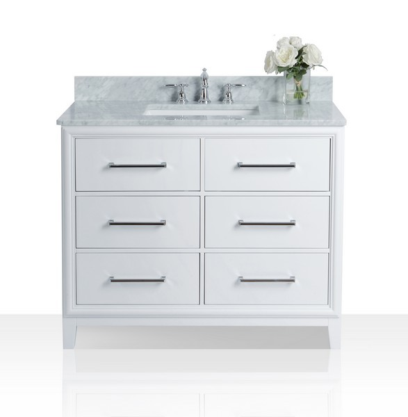 "42"" Bath Vanity Set in White with Italian Cararra White Marble Vanity Top and White Undermount Basin (No Mirror)"