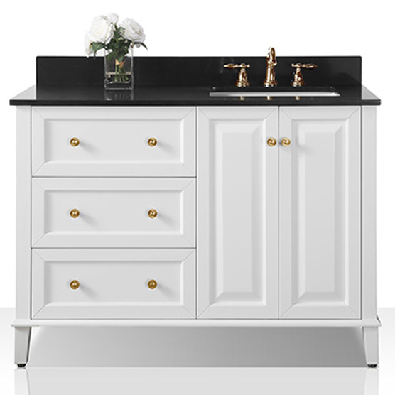 "48"" Off Centered Right Basin Vanity Set in White with Black Granite Vanity top and Mirror with Gold Hardware"