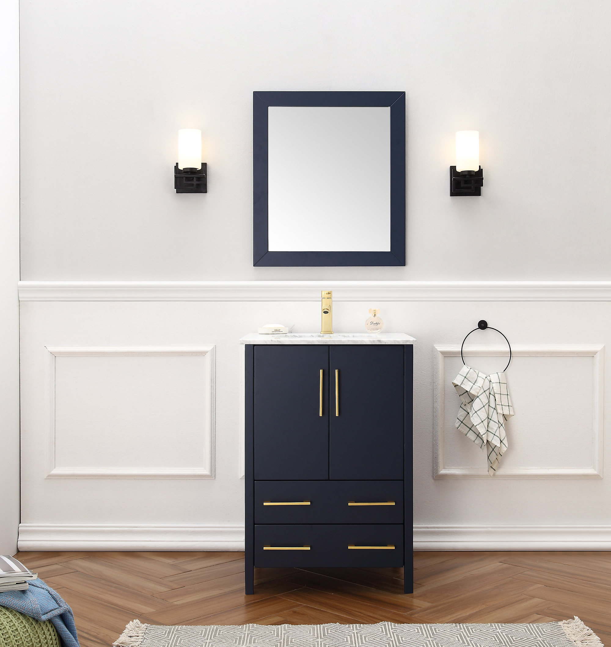 """Dora Soo Collection 24"""" Solid Wood Sink Vanity with Mirror-No Faucet Blue Finish"""