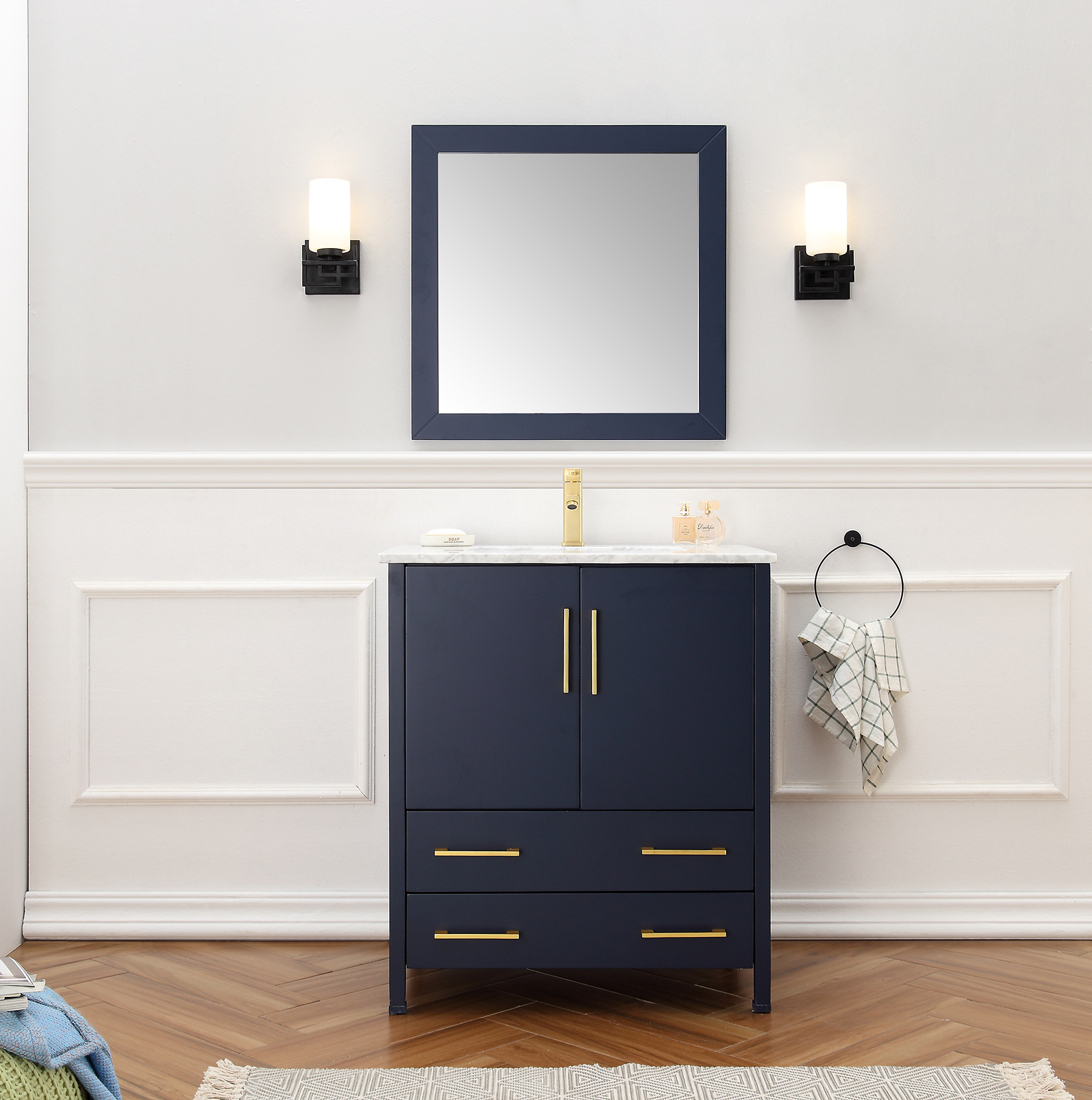 "Dora Soo Collection 30"" Solid Wood Sink Vanity with Mirror-No Faucet Blue Finish"